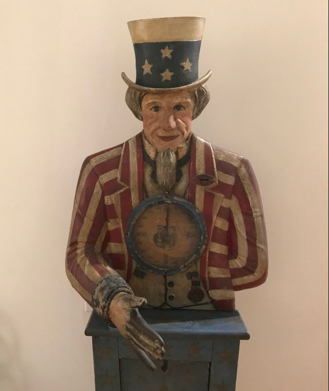 Antique Coin Operated Machines - Iconic Uncle Sam Strength Tester