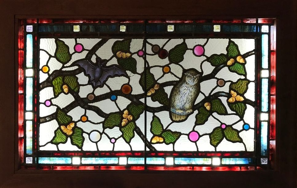 Classic Historical Stained Glass - Jeweled Owl And Bats Stained Glass Windows