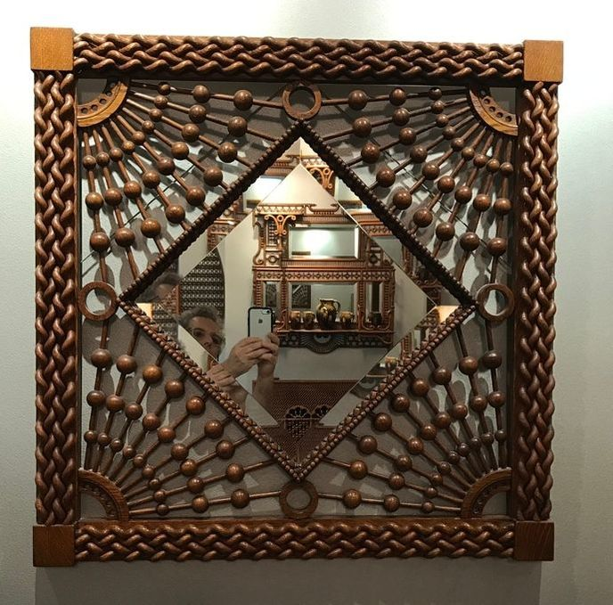 Fretwork - Very unusual Stick and Ball mirror with twisted moorish elements probably made by Merklen  (27in)