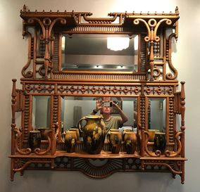 Fretwork - Two Overmantel stick and ball Etageres combine to create one visual unit.   Exceptional stick and ball and bent wood elements manufactured by Ferguson Brothers circa 1885.
