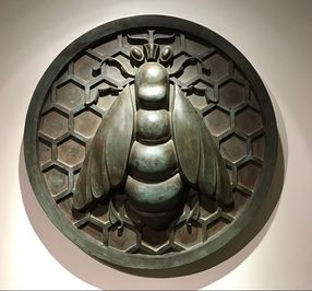 36 inch heavy bronze architectural plaque from the Bee Hive Savings bank.