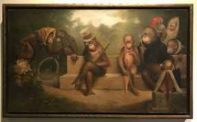Extraordinary turn of the century oil on canvas depicting a family of monkeys in human pose and form. Fine Art painting
