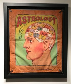 Canvas carnival banner with phrenological subject matter Dickman Circa 1930.