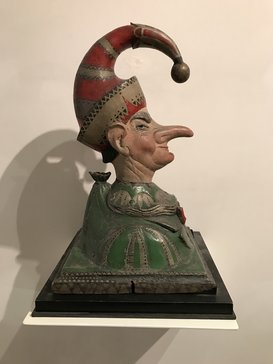 Turn of the century American Folk Art carved polychromed Punch counter top trade figure.