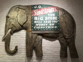 Rare 76in. three dimensional Elephant Trade Sign Wall Piece in Zinc Dickman Circa 1930.